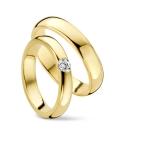 Mooie klassieke geelgouden trouwringen met briljant – 0.15ct