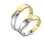 Apart design Trouwringen in wit/geelgoud, diamant van 0.06ct