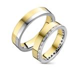 Geel/witgouden trouwringen-0.30ct aan diamanten in damesring