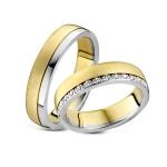 Trouwringen-witgouden rand. 30 diamanten-briljant slijpsel