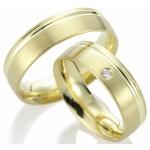 Sickinger trouwringen geelgoud met gepolijste voeg diamant