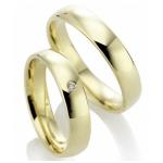 Geel gouden gepolijste trouwringen diamant in briljantslijpsel.