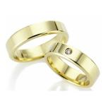 Gepolijste geelgouden trouwringen met een  diamant van 0.05 krt