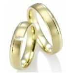 Geelgouden trouwringen R40063 mat/gepolijst met diamant van 0.02ct