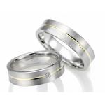Set witgouden trouwringen geelgouden band met diamant van 0.04ct