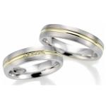 Bi-Color trouwringen A40003-50 5 diamanten in briljantslijpsel