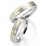 Bi-Color trouwringen 6 diamanten 0.005krt, briljantslijpsel