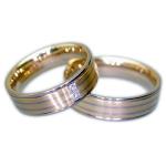 Multicolor trouwringen in het damesmodel 2 diamanten 0.04ct - Circles Trouwringen