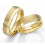 Geelgouden Acredo trouwringen gematteerd – gepolijste baan