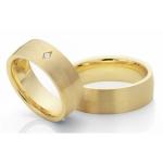 Geel gouden trouwringen ruitvormige zetting diamant 0.04ct
