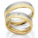 Bi-Color trouwringen wit/geelgoud, een diamant van 0.05ct
