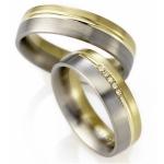 Bi-Color trouwringen in de damesring 5 diamanten van 0.01ct