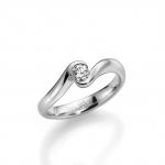 Verloving-/solitair ring 14 karaat witgoud Diamant 0.25ct GW/SI