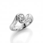 Verloving-/solitair in palladium 950. Diamant- 0.50ct TW/SI
