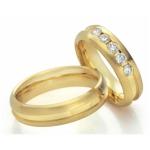 Geelgouden trouwringen trouwring dame 5 diamanten 0.10ct