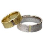 Wit-geelgouden diabolo ring, herenring een stukje geelgoud