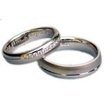 Witgouden trouwringen, gematteerd/gepolijst met 10 diamanten