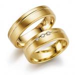 Geelgouden Gerstner trouwringen met diamanten totaal 0.06ct