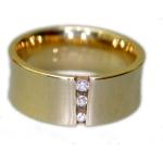 Geelgouden diabolo trouwring met totaal 0.06ct aan diamant