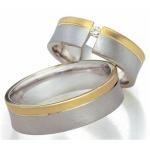 Bi-Color ringen met een open zetting, diamant 0.04ct