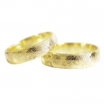 5 mm brede trouwringen met vingerafdruk, loupezuiver!! Uitgevoerd-geelgoud - Circles