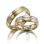 Trouwringen in wit en geelgoud 41 diamanten van 0.015 ct