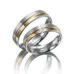 Trouwring – wit en geelgoud diamant 0.04 ct-briljantslijpsel