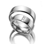 Witgouden ringen, trouwring dame 3 Princessen van 0.05 ct