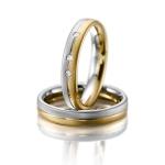 4 mm brede trouwringen drie diamanten van 0.02 ct bi color