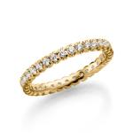 14 Krt Geelgouden Solitair ring rondom gezet diamant 0.66ct.