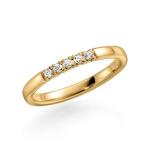 Geelgouden solitair 5 diamanten 0.02 ct in briljantslijpsel