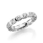 3,5 mm brede solitair ring rondom diamanten briljantslijpsel
