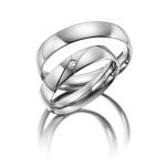 Trouwringen in witgoud gepolijst diamant gezet van 0.02 ct