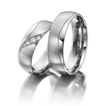 Elegante trouwringen met 4 diamanten van in totaal 0.06 ct