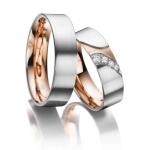 Trouwringen-4 diamanten in princess slijpsel wit-, roodgoud