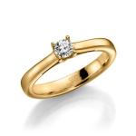 Verloving-/solitair ring in geelgoud 585, diamant 0.3 ct