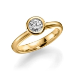 Verloving-/solitair ring geelgoud 14 karaat. Diamant 0.5ct