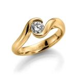 Geelgouden 585 krt verloving-/solitair ring. Diamant 0.5ct