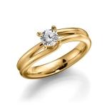 Verloving-/solitair ring in geelgoud 585. Diamant 0.4ct W/SI