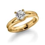 Verloving-/solitair ring- 585 ct geelgoud. Diamant 1ct GW/SI