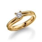 Geelgouden 585 krt verloving/solitair ring. Diamant 0.3ct