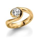 Geelgouden 585 krt solitair/verlovingsring diamant 1ct !GW/SI