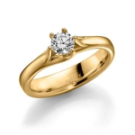 585 Geelgouden solitair/verlovingsring. Diamant 0.5ct W/SI