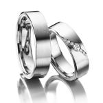 Trouwringen elegant verlopende zetting met 6 diamanten