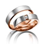 Acredo trouwringen wit-roodgoud Baquette geslepen diamanten