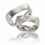 Platina trouwringen Trilliant geslepen diamant