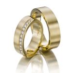Trouwringen in geelgoud met mooie pavé 12 diamanten 0.24ct - Circles Trouwringen