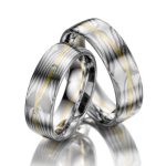 Trouw ringen Mokume Gane grijs-, groen goud / palladium 500