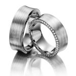 Mooie trouwringen in een diabolo model van palladium 500 met platina 650 - Circles
