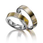 Bijzondere trouw ringen in palladium 500 en geelgoud 916 - Circles